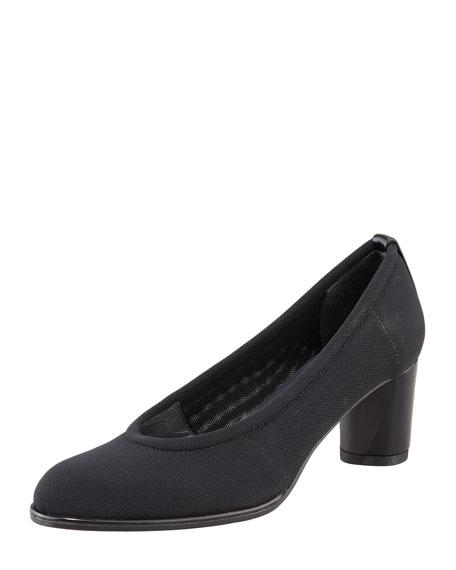 Gauzelle Stretch Mid-Heel Pump, Black