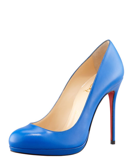 Filo Leather Red Sole Pump, Blue Sapphire