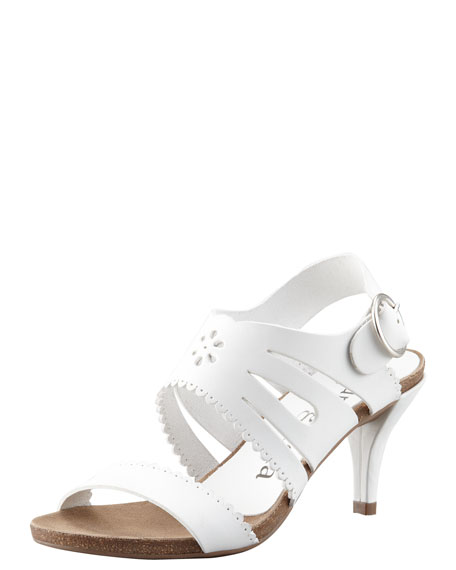 Winona Cutout-Scalloped Leather Sandal, White
