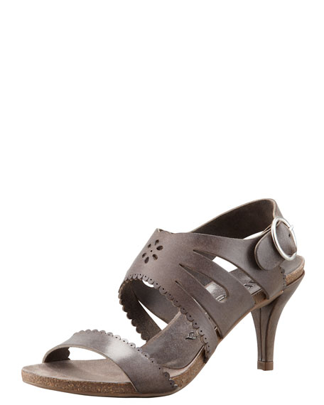 Winona Cutout-Scalloped Leather Sandal, Gray
