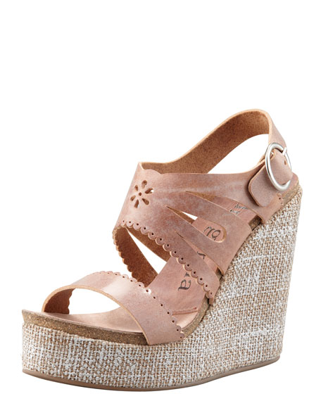Ailyn Cutout-Scalloped Leather Wedge Sandal