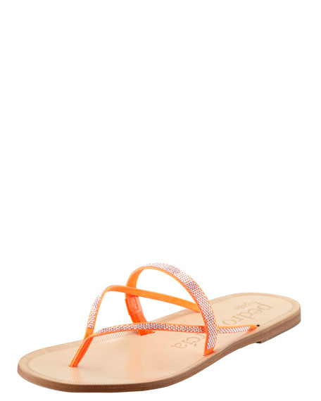 Zuriel Crystal Flat Thong Sandal, Orange