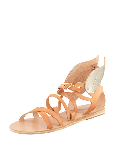 Nephele Winged Strappy Sandal, Natural
