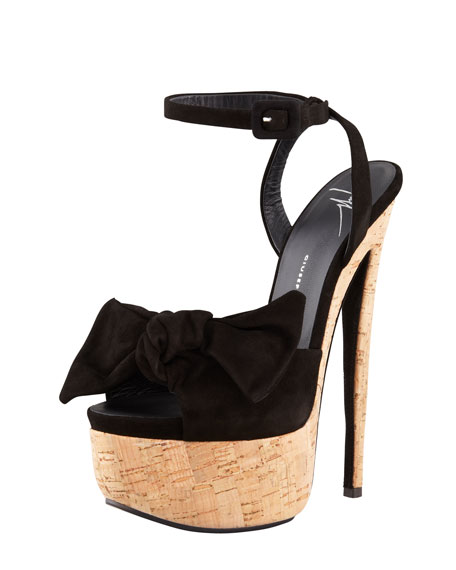 Bow Suede Cork Pump, Black