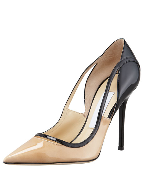 Vero Colorblock Patent Leather Pump, Nude/Black