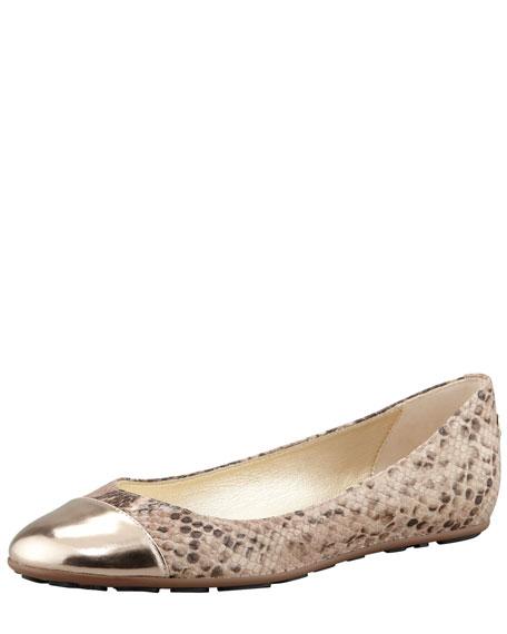 Whirl Snake-Print Ballerina Flat