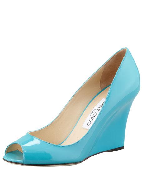 Baxen Peep-Toe Patent Wedge, Turquoise