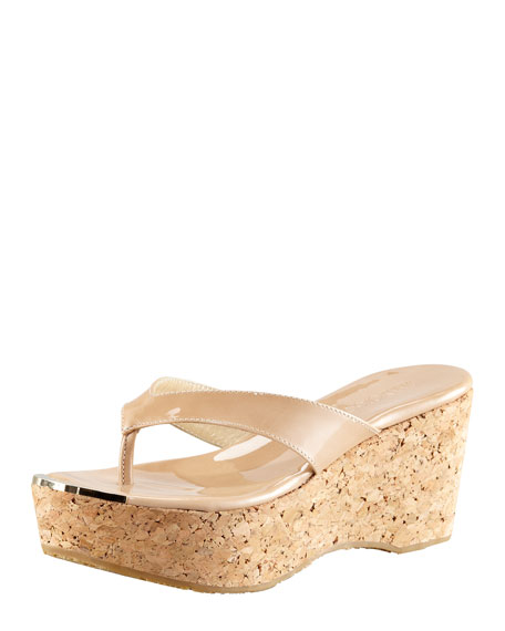 9353f1c08 Jimmy Choo Pathos Patent Leather Cork Sandal