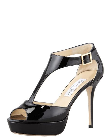 Tribe Patent T-Strap Sandal, Black