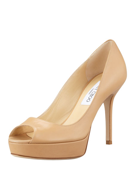 Tiara Platform Leather Pump, Nude