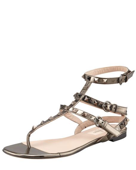 Rockstud Ankle-Wrap Sandal, Rutenio