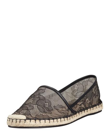Flat Lace Espadrille, Black