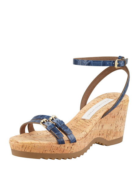 Faux-Crocodile Cork Ankle-Wrap Wedge, Navy
