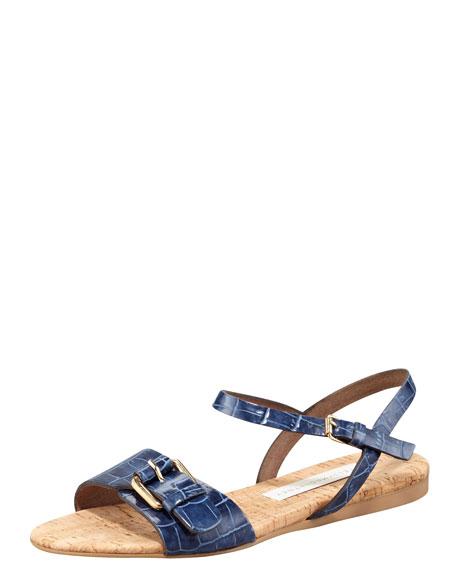 Faux-Crocodile Cork Flat Sandal, Cobalt