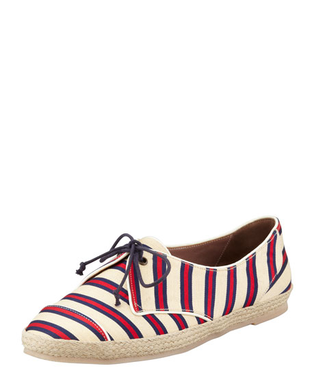 Tie-Striped Flat Espadrille Sneaker, Red/Navy