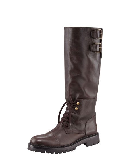 Laced Calfskin Knee Boot