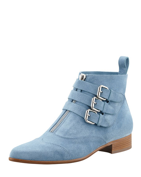 Suede Ankle Boot, Blue