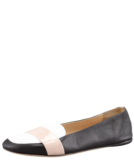 Colorblock Napa Leather Driver, Black/White/Nude