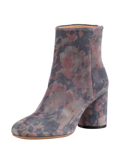 Floral-Print Suede Ankle Boot