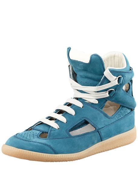 Cutout High-Top Sneaker, Blue