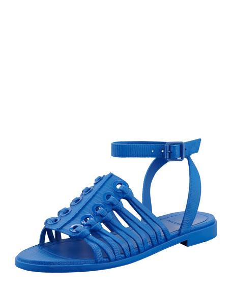Rubber Ankle-Wrap Flat Sandal