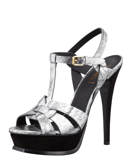 Tribute Metallic Leather Suede-Heel Sandal