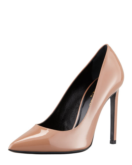 Paris Pointed-Toe Patent Pump, Nude