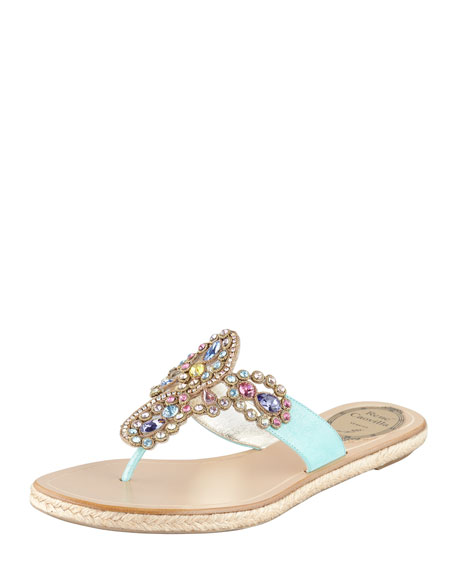 Jeweled Flat Thong Sandal