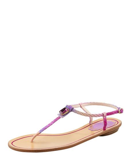 Crystal Python Thong Sandal, Amethyst