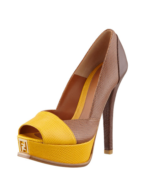 Fendista Colorblock Pump, Beige/Gold Tan