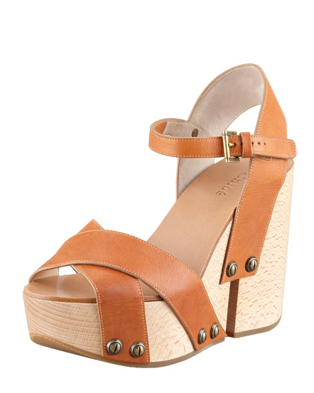 Crisscross Platform Wedge Sandal