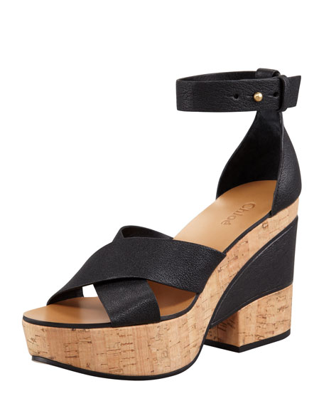 Crisscross Cork and Leather Platform Sandal