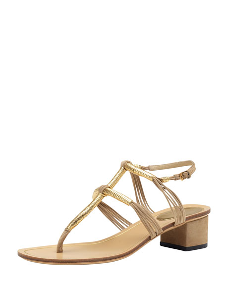 Low-Heel Thong Sandal, Cream