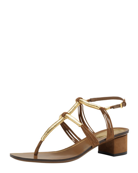 Low-Heel Thong Sandal, Brown