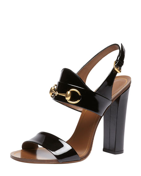 Patent Leather Horsebit Sandal, Black