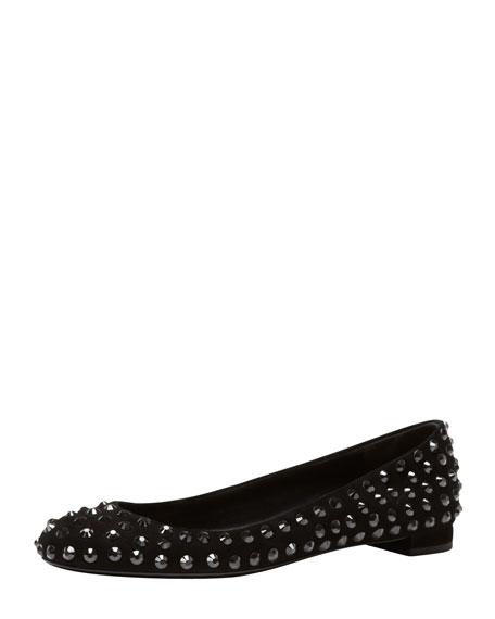 Crystal-Stud Suede Ballerina Flat, Black