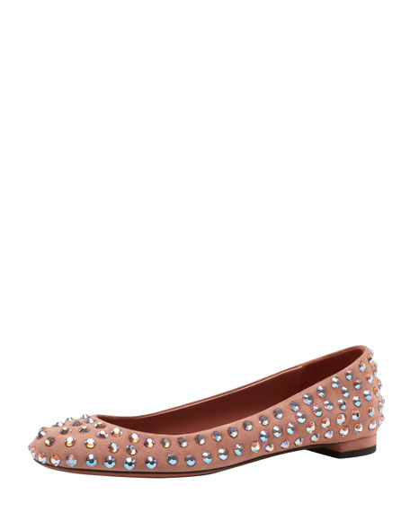 Crystal-Stud Suede Ballerina Flat, Desert Rose