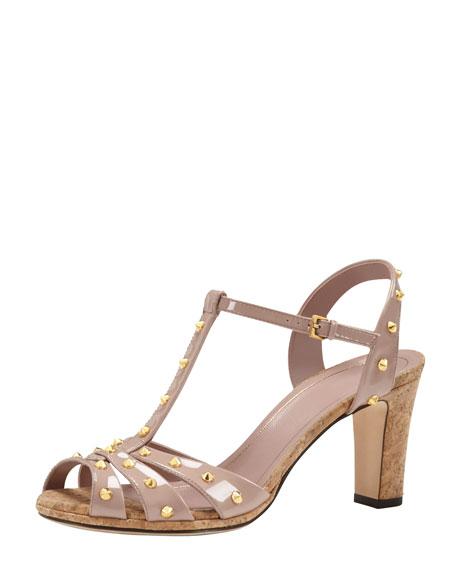 Studded Patent Leather Sandal, Dark Cipria