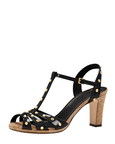 Studded Patent Leather Sandal, Black