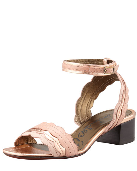 Chunky-Heel Scalloped Leather Sandal, Light Pink