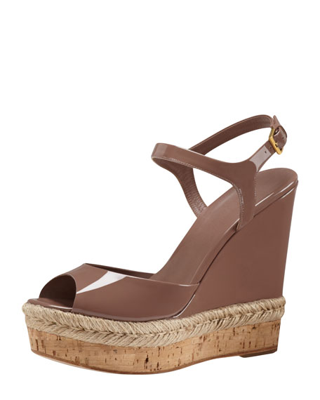 Patent Espadrille Wedge Sandal, Rose