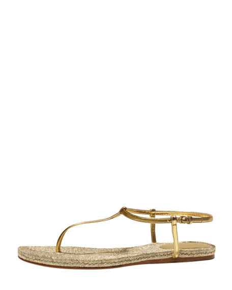 Lia Metallic Leather Thong Sandal