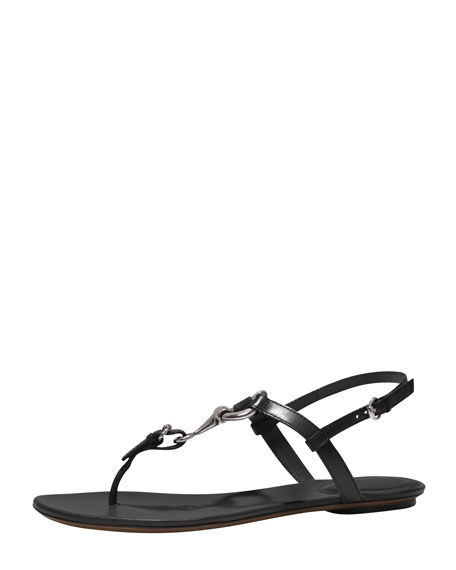 Horsebit Flat Thong Sandal, Black