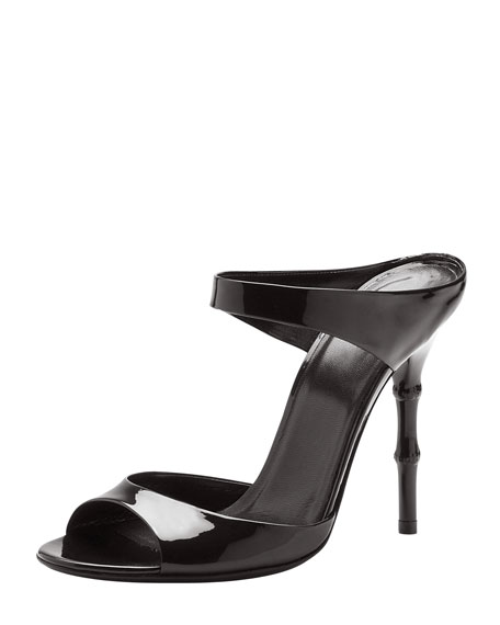 Bamboo-Heel Patent Leather Sandal, Black