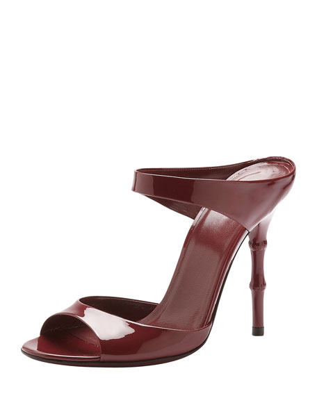 Bamboo-Heel Patent Leather Sandal, Scarlet