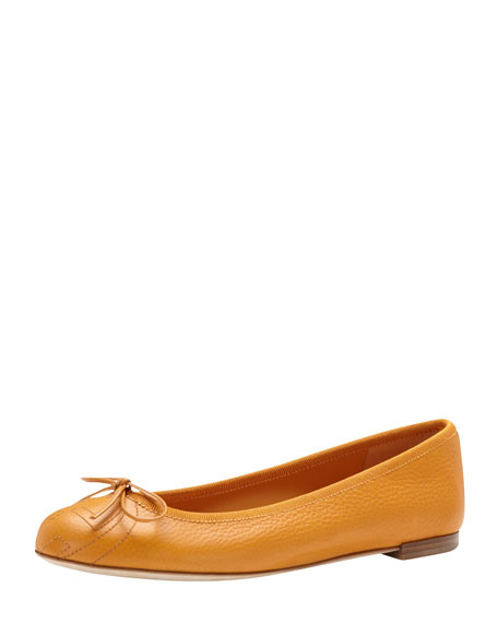 Leather Bow Ballerina Flat, Sunflower