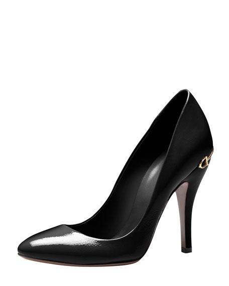 b4e95753c32 Gucci Horsebit-Heel Patent Leather Pump