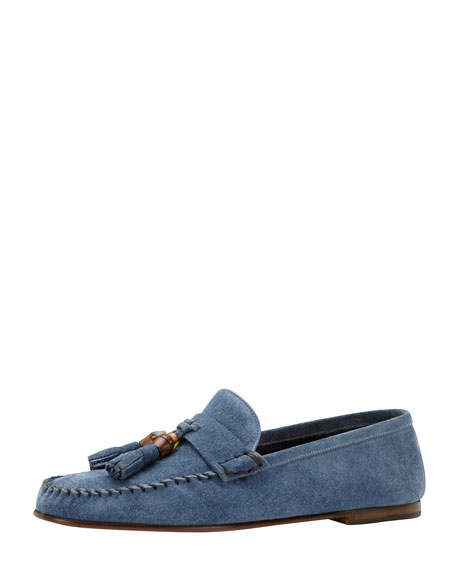 Bamboo-Tassel Suede Driver, Blue