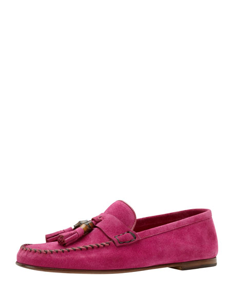 Bamboo-Tassel Suede Driver, Pink