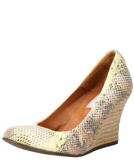 Snake-Embossed Wedge Pump